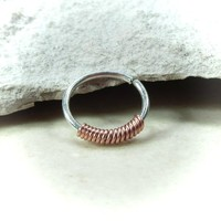 Sterling Silver Nose Ring Copper Wrapped