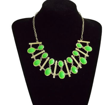 ** MAKE OFFER ** New Light Green Layered Statement Necklace Independent Designer one size by Alisha's Fashion ~MAKE ME AN OFFER~