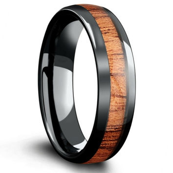6mm Mens Black Wood Wedding Band Crafted Out of Real Koa Wood High Teach Ceramic