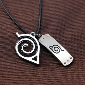 Naruto Sasauke ninja Retail 1pc  Wooden Leaves Double pendant Necklace Metal Figure Saw Hunter Pendant Necklace  High quality Jewelry AT_81_8