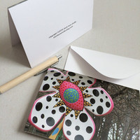 Polkadot flower card blank inside, 4x6 floral modern art photo note card for her, fun French travel greeting friendship card for girl