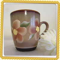 Unique One of a Kind Hand Painted by ME Brown Coffee Stoneware Mug With Brown Flowers - Great Gift Idea - Special Mug - Kitchen and Dining