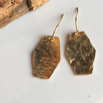 Hammered Earrings, Dangle Earrings, Brass Earrings, Metalwork Earrings, Barrell Earrings, Etsy, Etsy Jewelry, Hammered Brass