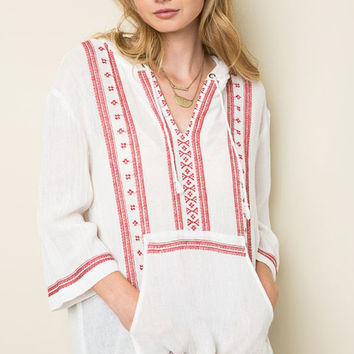 Embroidered Linen Hooded Pullover