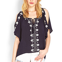 Whimsical Embroidered Peasant Top