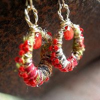 Fabric Wrapped Ear Hoops .Recycled India Cotton .Red Coral .Seed Bead Wire Wrap