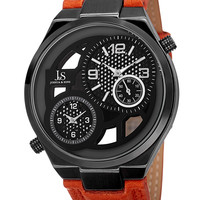Orange Leather & Black Dial Watch, 48mm
