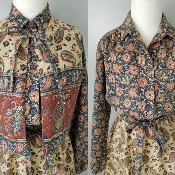 70s 80s Tanglwood Brand Dress with Removable Vest Matching Cloth Belt Boho Bohemian Style Two Piece Dress