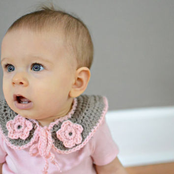 Baby Girl's Crocheted Collar-Crocheted Collar w/pink flowers-Baby Collar-Baby Accessory.
