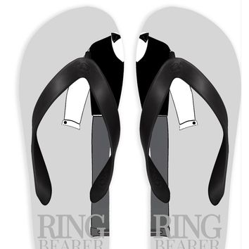 Ring Bearer with Gray Background Flip Flops