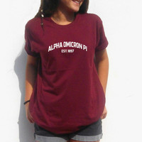 Alpha Omicron Pi Shirt AOPi T shirt fraternity sorority Greek tee Choose Your Color CUSTOM big little sorority name!