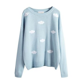 Harajuku Korean style winter women pullover sweaters 3D clouds hedging thick round neck women sweater kawaii Christmas Sweater