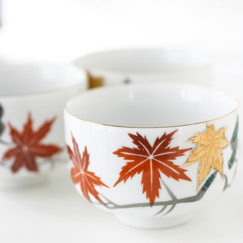 YY Made in Japan Vintage Teacups Maple Leaf Momiji Set of Three