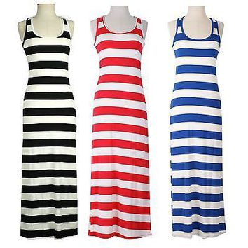 Summer Sleeveless Tank Striped Maxi Sun Beach Dress