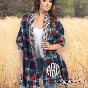 Monogrammed Double Sided NAVY Tartan Plaid Houndstooth Blanket Scarf Wrap  Font Shown NATURAL CIRCLE in Ivory