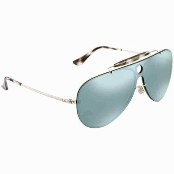 Ray Ban Blaze Shooter Dark Green/Silver Mirror Aviator Sunglasses RB3581N 003/30