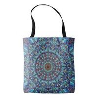 Boho-romantic colored mandala ornament arabesque tote bag