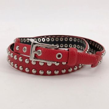 DKNY Dome Studded Leather Belt Moto Punk-red