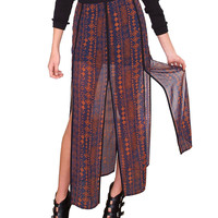 Out Of Island Maxi Skirt - Navy Print
