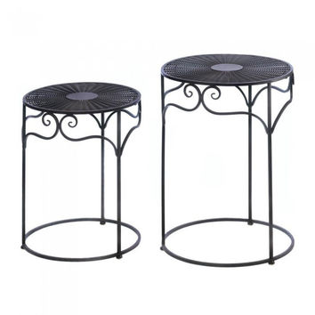 Accent Plus Umber Wicker Round Nesting Tables