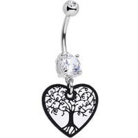 Handcrafted Leafy Tree of Life Dangle Belly Ring | Body Candy Body Jewelry