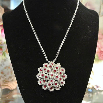 Antique Rhinestone Necklace Antique Paste Glass Ruby Red Pave White Diamond 1940s 40s Hollywood Regency Wedding Bride Bridal Jewelry