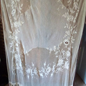 Antique embroidered lace window curtain drape LONG 1900s French handmade embroidered lace, floral embroidery arts and crafts panel w roses