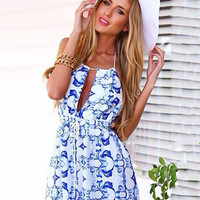 Blue and White Porcelain Print Halter Backless Pleated Romper