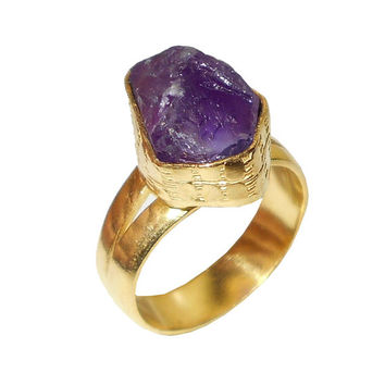 Perfect Gift Ideas, Rough Stone Ring, Amethyst Ring, Gold Polish Ring, Handmade Ring, Amethyst Gold Ring, Women Statement Ring, Bezel Rings