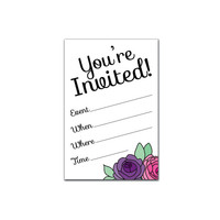 Printable Party Invitation Set - You're Invited - Flowers
