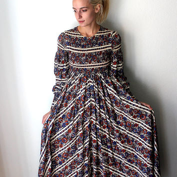 1970s 1960s Vintage Hippie Country Western Long Dress with Floral Print / Denise L / Womens Medium