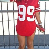 "Red ""99"" Printed Mini Jersey Dress"