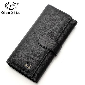 Women Long Wallet Fashion Solid Female Purse Phone Coin Pocket Brand Designer Clutch Wallets Genuine Leather Ladies Card Holder