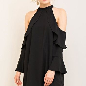 Cold Shoulder Ruffle Detail Shift Dress - Black
