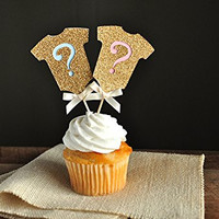 Gender Reveal Party Decor. Gold Onesuit Question Mark Cupcake Toppers 12CT.