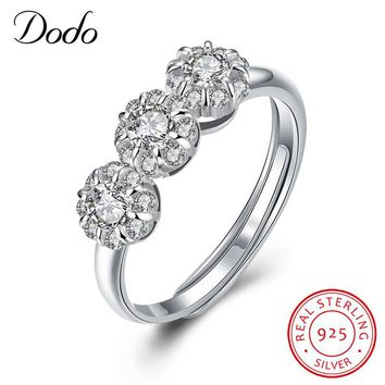 DODO Flower Bud Design 925 Sterling Silver Open Ring Victoria Antique Shiny Crystal Jewelry Wedding Engagement Rings Love SR47