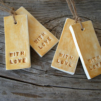 Christmas gift tags in gold, with love embossed tags, rustic holiday gift wrap, Christmas decor from clay, set of 4
