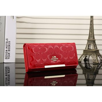 COACH Trending Women Shopping Leather Buckle Purse Wallet Handbag(7-Color) Red I-OM-NBPF