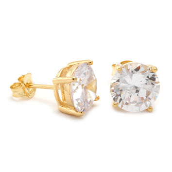 Gold Clear Round Brilliant Sterling Silver CZ Stud Earrings