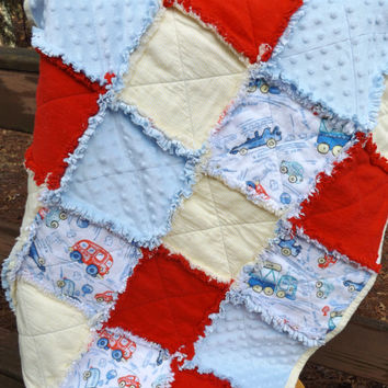 Handmade Large Cars and Trucks Flannel and Minky Rag Baby or Crib Quilt in Red, White, Yellow and Blue