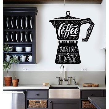 Vinyl Wall Decal Coffee Maker Quote Shop Kitchen Stickers Mural Unique Gift (ig4350)