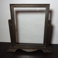 Vintage Antique Art Deco Engraved Wooden 8 x 10 Swing Standing Picture/Photo Frame with Glass
