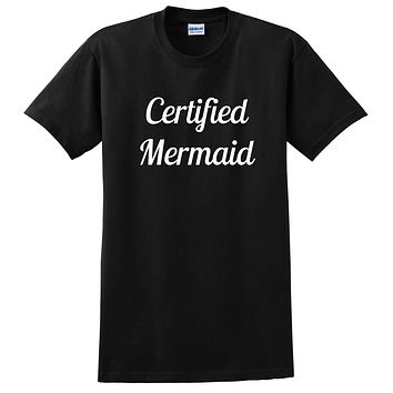 Certified memaid funny cool saying love swimming I'm a mermaid birthday gift T Shirt