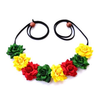 Flower Crown Rasta Flower Halo Headband Jamaican Floral Halo Red Yellow Green Daisy Crown Bohemian Hippie Headpiece Festival Crown Rasta