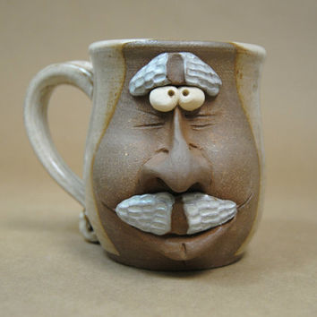 Grandpa face mug - Pottery face mugs - Over The Hill mug - Gift for coworker - Papa face mug - Stoneware face cup - Unique pottery mug
