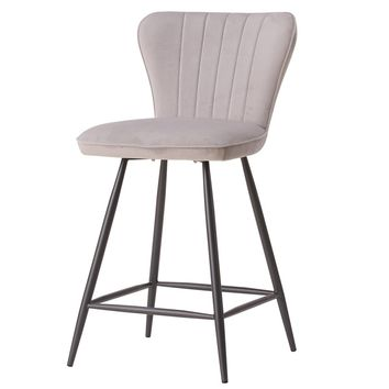 Delphine Velvet Fabric Swivel Counter Stool Conrad Gray