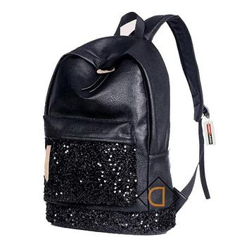 Preppy Style Embroidered Sequins Leather Backpack