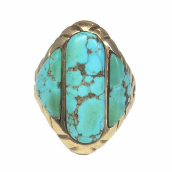 Mens Vintage Navajo 14K Turquoise Ring Size 13