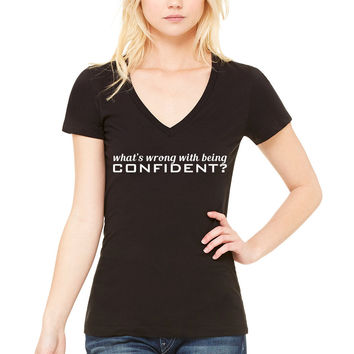 "Demi Lovato ""What's Wrong With Being Confident?"" Women's V-Neck T-Shirt"