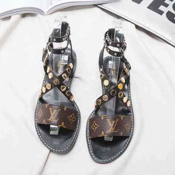 LV Louis Vuitton Summer Beach Casual Sandals Shoes Print Leather Coffee Women Outsole Perfect Flat